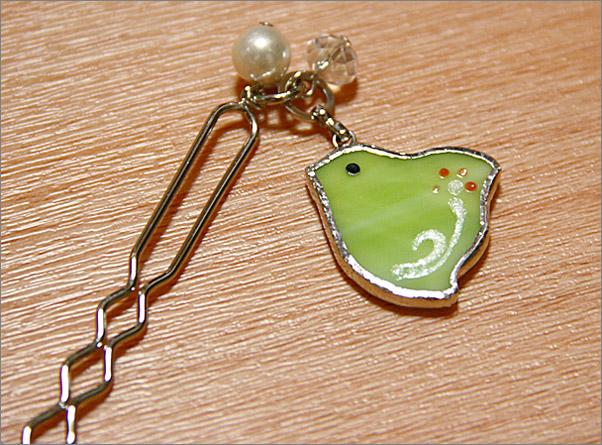 ガラス製・千鳥のかんざし(黄緑色)