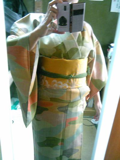 お手持ちのウール着物に、『カラシ地に菊柄』の名古屋帯を♪