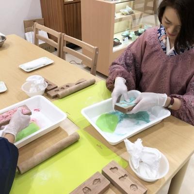 京都で和菓子作り体験。お干菓子。
