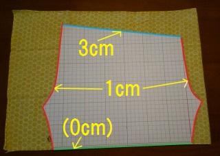 そこに(手ぬぐい半ズボンの作り方☆型紙編)で作った型紙を置いて、型紙通りに線をぐる~っとひきます。