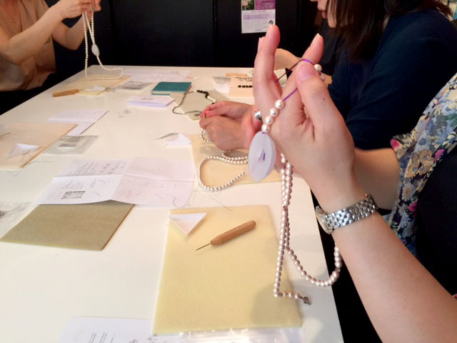 9月のコットンパールで作るネックレスのワークショップ