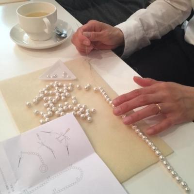 【終了】5月のワークショップ「コットンパールで作る三連のネックレス」第一弾 8ミリのコットンパールのネックレス