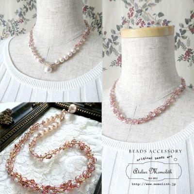 桜色のコットンパールとチェコビーズのネックレス