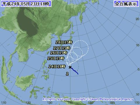 2012年5月23日の台風予想進路図