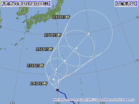 20121年5月23日の台風2号(サンヴー)予想進路図