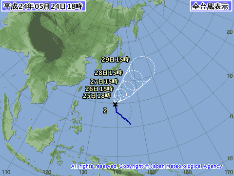 2012年5月24日の台風予想進路図