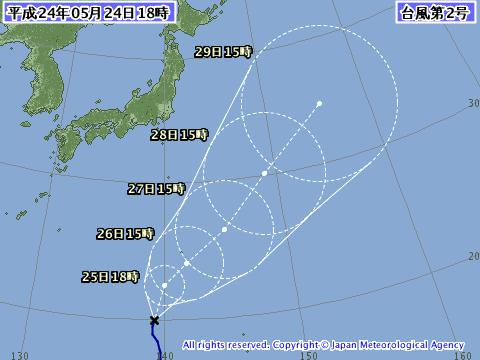 20121年5月24日の台風2号(サンヴー)予想進路図