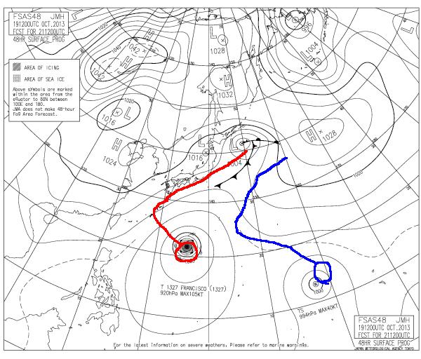 2013年10月21日21時の予想天気図