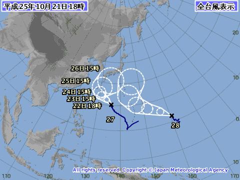 2013年10月21日の台風予想進路図