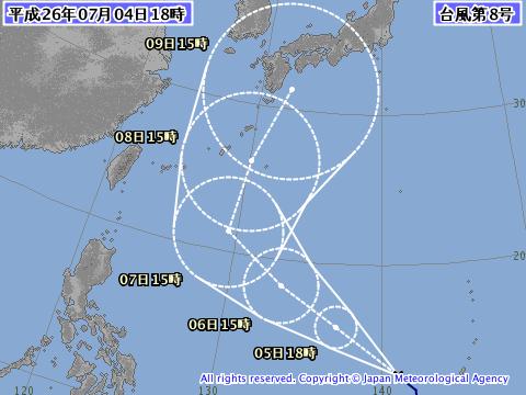 2014年7月4日18時の台風8号予想進路
