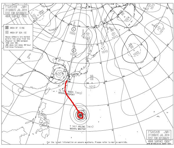 2014年8月2日21時の予想天気図