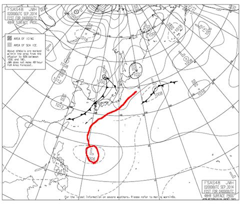 2014年9月4日9時の予想天気図