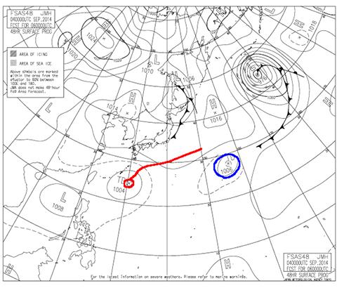 2014年9月6日9時の予想天気図