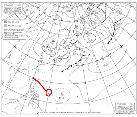 2014年9月12日9時の予想天気図