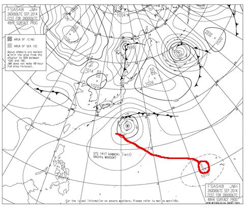 2014年9月28日9時の予想天気図