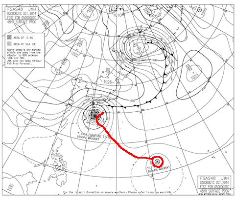 2014年10月5日9時の予想天気図