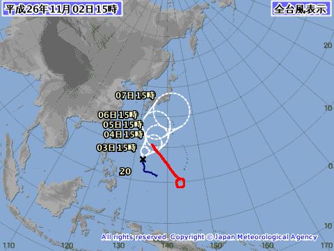 2014年11月2日15時の台風8号予想進路