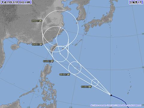 2016年7月4日18時の台風1号予想進路
