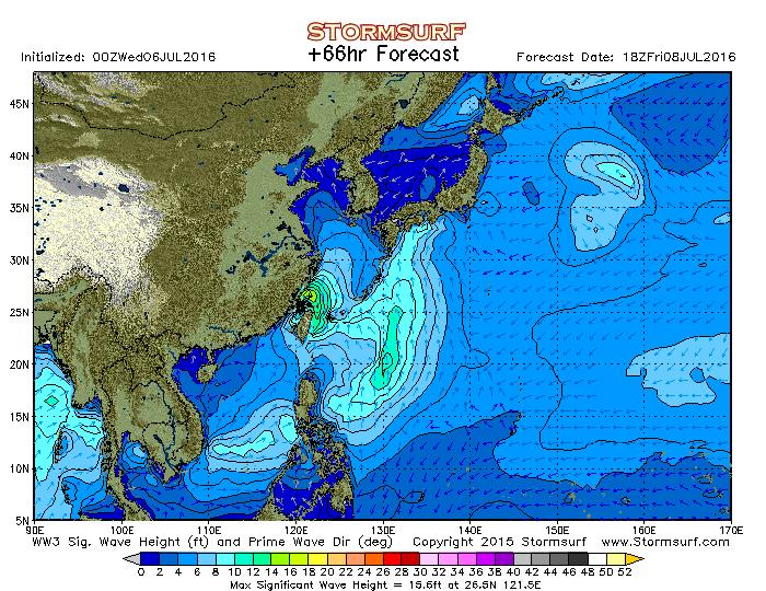 2016年7月8日18時の波浪予想図