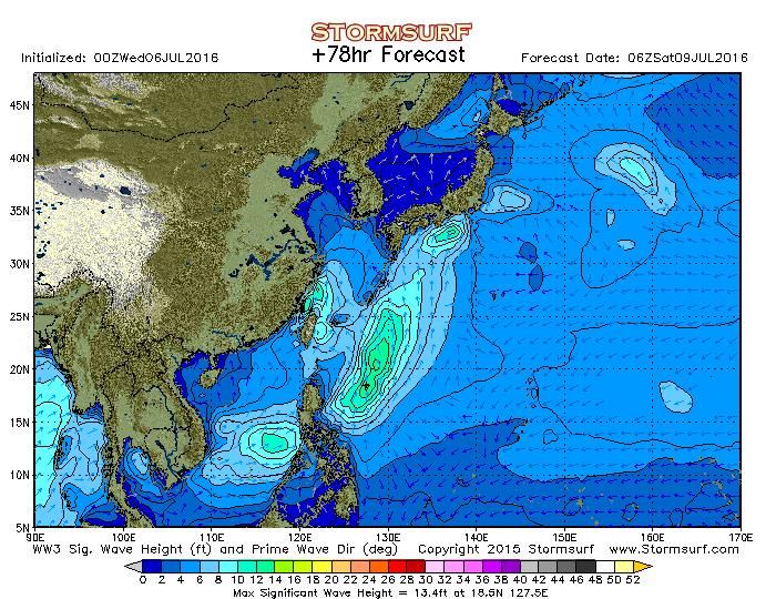 2016年7月9日6時の波浪予想図