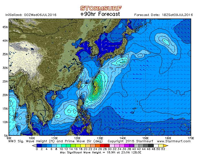 2016年7月9日18時の波浪予想図