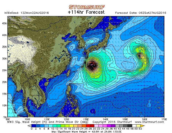 2016年8月27日6時の波浪予想図