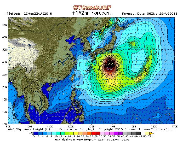 2016年8月29日6時の波浪予想図