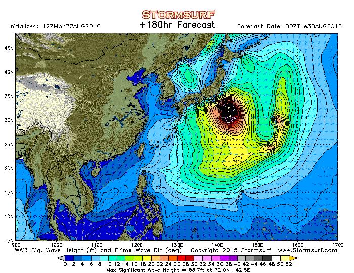 2016年8月27日0時の波浪予想図