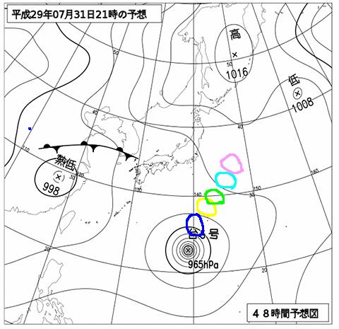 2017年7月31日21時の予想天気図