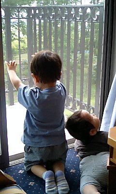 兄弟で外を眺める