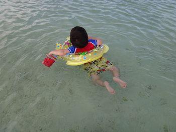 無理やり海に入れた