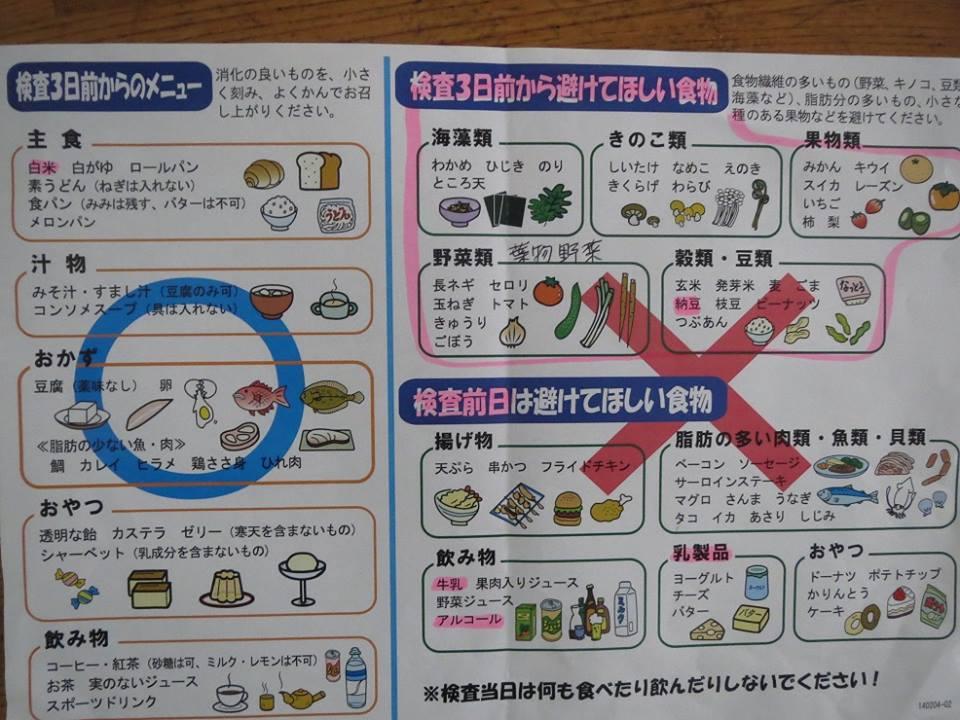大腸 内 視 鏡 3 日前 から の 食事 例