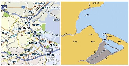 横浜市新旧地図