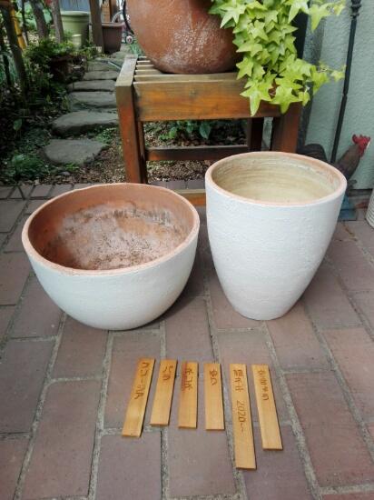 植木鉢を塗装