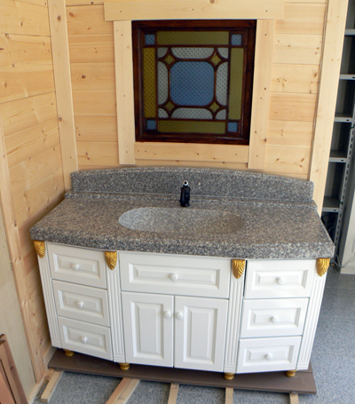 アンティーク洗面台に石の天板