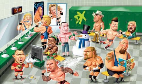 WWEの噂・裏技・裏話_スーパースターの控室の様子を描いた絵