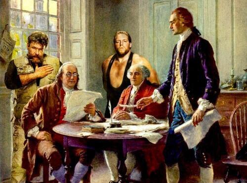WWEの噂・裏技・裏話_ジャック・スワガーとゼブ・コルターがアメリカ独立記念の絵画とコラボ