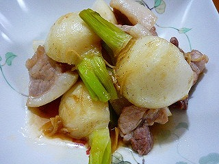 かぶと豚肉の炒り煮