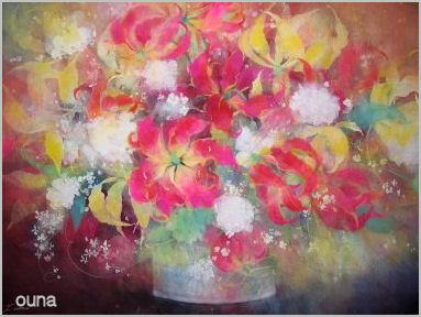 グロリオサと白い花の絵