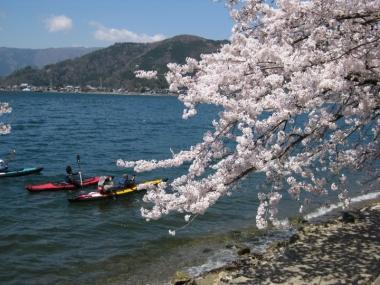 琵琶湖 湖面を彩るカヌー