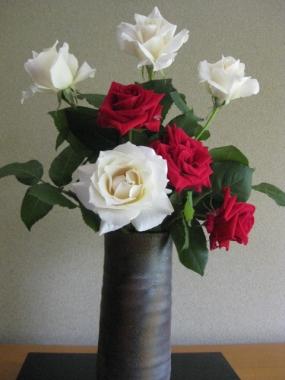 赤い薔薇と白い薔薇