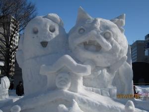 雪像 ジャバニャンとふなっしー