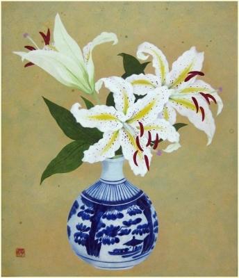 花瓶に生けた 山百合の絵