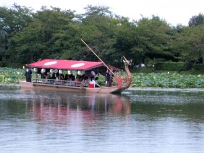大沢の池を遊覧する龍頭船