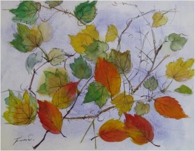 ツタと桜落ち葉のスケッチ