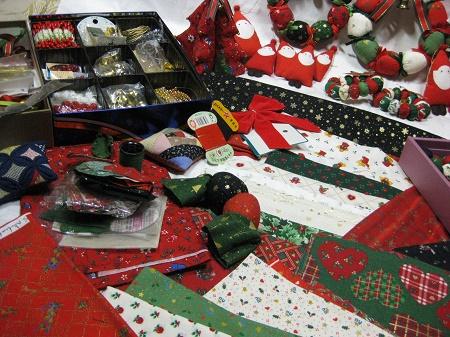 クリスマスプリント布・パーツ類