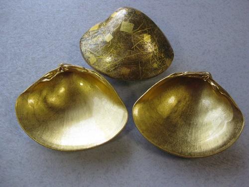 金箔工芸の天然蛤貝珍味入れ