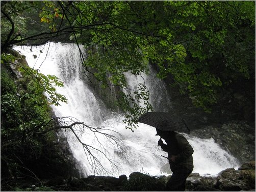 こもれびの滝をバックに記念撮影した方