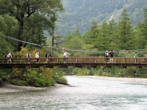 河童橋 木の吊り橋