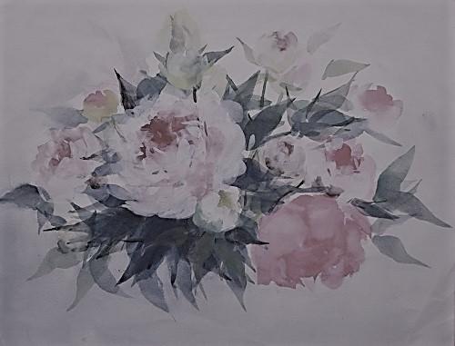 芍薬の絵の写真を墨彩画風に加工